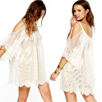 Feitong 2016 Women Summer Beach Dress Cover Up Sexy Strap Sheer Floral Lace Embroidered Crochet Dresses Hippie Boho vestidos Hot