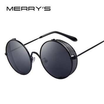 MERRY'S Fashion Women Sunglasses Classic Round Steampunk Shades Brand Designer Men Sun glasses UV400