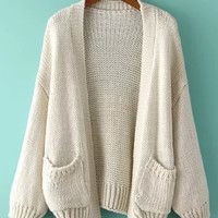 Off-White Double Pocket Loose Fitting Cardigan
