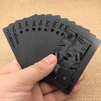 Golden Poker Waterproof Black Plastic Playing Cards