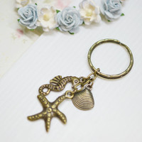 Nautical Accessory,Beach Key Ring, Ocean Keychain, Sea Creature Key Ring,Seahorse, Starfish, Shell Keychain, Antique Brass Ocean Accessory