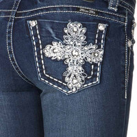 Miss Me Junior's Bling Cross Dark Mid Rise Bootcut Jeans