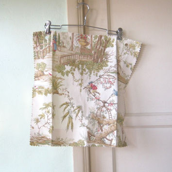 Sachet/Pillow Cover Fabric; Sample Size Fantasy Garden Toile Square - Beige/Champagne/Red/Blue/Green Print Asian Garden Print Fabric