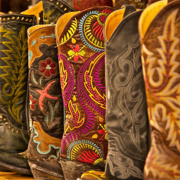 Cowboy Boot Photograph, Western Cowboy Boots - Colorful - Earth Tones - Southwest photographic art, for home and office décor. Title is: 232
