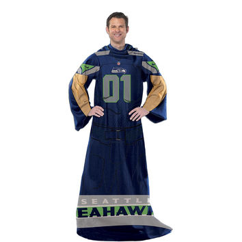 Seattle Seahawks NFL Uniform Comfy Throw Blanket w- Sleeves