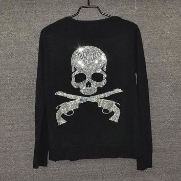 Brand Diamonds Gun Skull Women knitted Cardigans long sleeve single breasted women sweater plus size female outwear Girls - skull 5, XXXL