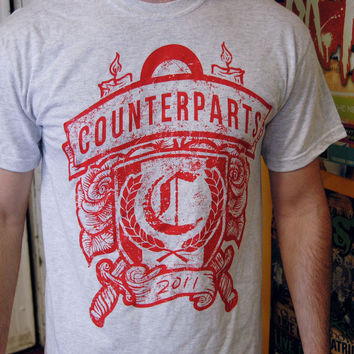 Counterparts: Candles and Knives Crest T-Shirt (Ash Grey)
