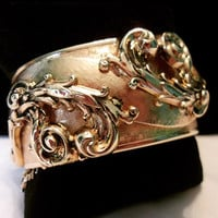 "Estate Vintage Ornate Victorian Revival Flower & Leaf 1 1/4"" wide Gold Plate Hinged Cuff Bracelet"