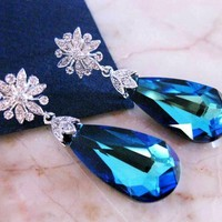Bermuda Blue CZ Earrings Wedding Bridal Cubic Zirconia Swarovski - Vivian Feiler Designs | Wedding