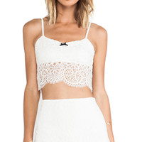 For Love & Lemons Holly Crop Top in Ivory