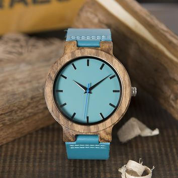 2017 BOBO BIRD Men Watch Blue Face Blue Genuine Leather Strap Wristwatch relogio masculino Drop Shipping B-C28