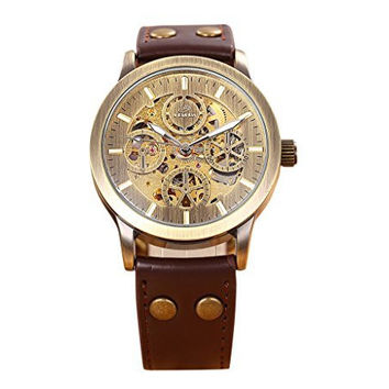 GuTe Retro Brass Steampunk Automatic Mechanical Watch Skeleton Luminous PU Burgundy Strap Unisex