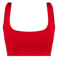Red Square Neck Zip Back Crop Top