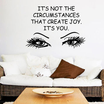 Make Up Wall Decal Quote Eyes Decal Beauty Salon Vinyl Stickers Woman Eye Lashes Art Mural Home Bedroom Design Girls Room Decor M986