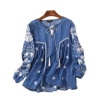 2017 New Fashion Spring Casual Denim Shirt Women Lace Up Lantern Sleeve Ethnic Vintage Embroidery Blouse Tops Blusa Feminina