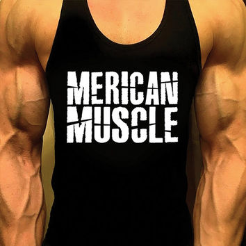 Merican Muscle, Bodybuilding Tank Top, Mens Workout Shirt, Racerback Singlet Y-Back, Muscle Tee, Mens Fitness Gym Tank, Fitness Apparel