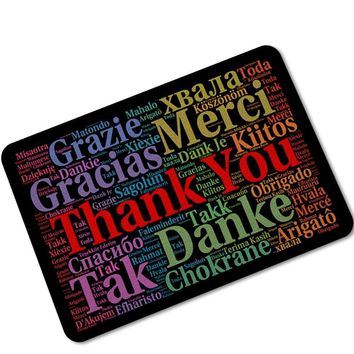 MDCT Rainbow English/German/Russian/French/Spanish Thank You Goodbye Welcomr Floor Door Mats Area Rugs Rubber Back Carpet