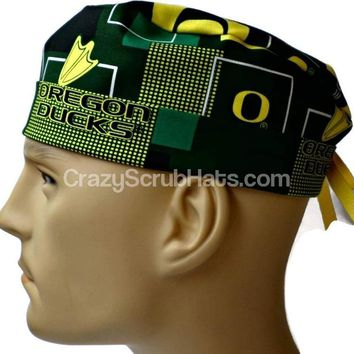 Men's Fold-Up Cuffed or Un-Cuffed Surgical Scrub Hat Cap in Oregon Ducks New Block