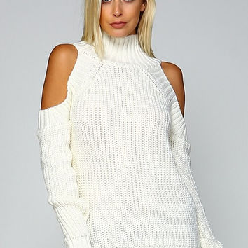 Cable Knit Cold Shoulder Sweater - Ivory