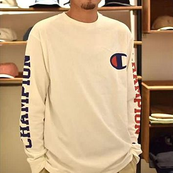 Champion Men Fashion Casual Logo Print Top Sweater Pullover