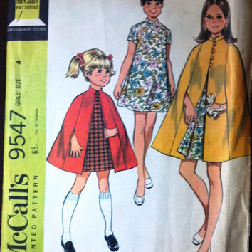 McCall's 9547 Pattern for Girls' Cape and Dress, Size 4, From 1968