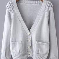 Grey V Neck Twisted Ball Pockets Knit Long Sleeve Sweater