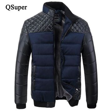 QSuper Plaid Striped Patchwork Men Parkas Jackets 3 Color Wool Fleece Thick Warm Stand Collar Slim Fit Casual Outwear Brand Coat