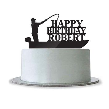 Custom Personalized Happy Birthday with Name Cake Topper Fishing Boat Fisherman