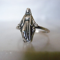 Size 5.5 Skinny Ring, Virgin Mary Ring, Thin Ring, Sterling Silver Ring, Mother Mary Ring, Catholic Jewelry, Virgin Mary Ring, Trending 2014