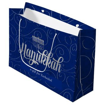 Menorah and Star of David with Blue Swirls Large Gift Bag
