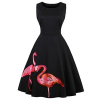 Flamingo Embroidered Vintage Swing Dresses