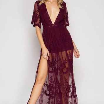 Gemma Lace Burgundy Maxi Dress