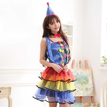 Circus Animal Trainer Costume Adult Women Dazzling Color Clown Costume Candy Girl Layer Tutu Dress Halloween Party Costumes