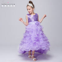 Organza High Low Champagne Flower Girl Dresses For Weddings 2017 Shiny Sequin Purple Girls Pageant Dresses Vestido Daminha