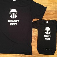 Daddy Fett Baby Fett Funny Star Wars Inspired Matching Shirts