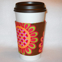 Slip-On Coffee Cozy Made With Bright Colored Fabric