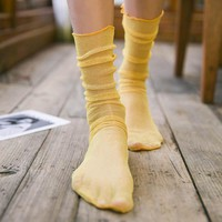 Diamond Sheer Sock | Yellow
