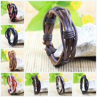 Handmade wrap genuine real leather bracelet men 2016& friendship bangles for women