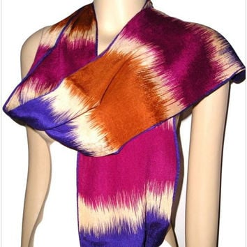 Vintage 70s ECHO Japan Hand Painted Drip Dye Purple Burgubdy Copper Cream Crinkle SILK Skinny Oblong Scarf - A Pop of Color One of a Kind