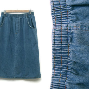 Vintage Midi Skirt~Size Medium to Large Waist 27 to 32~60s 70s 80s Denim Jean Long Maxi Stretchy Elastic Skirt with Pockets
