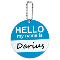 Darius Hello My Name Is Round ID Card Luggage Tag
