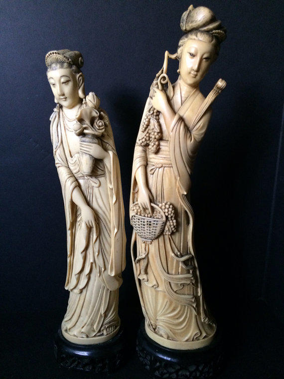 Faux Ivory Antique Resin Carved Chinese From Barnzero On Etsy