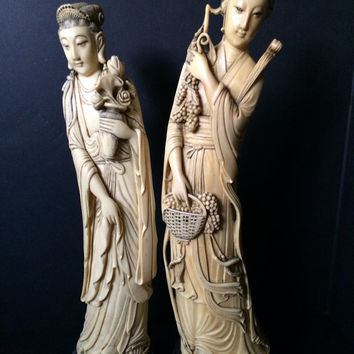 faux Ivory Antique Resin carved chinese goddesses tall chinese lady statues