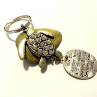 Antique Silver Sea Turtle Key Chain, Turtle Car Accessory, Key Fob, Rhinestone Keychain, Sea Turtle Gift Idea, Shell in Pocket
