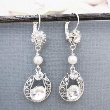 Earrings for Wedding Party, Crystal Earrings Dangle, Art Deco Bridal Jewelry