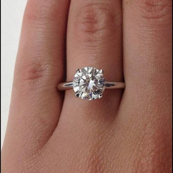 CERTIFIED 3.5 CT ROUND CUT J/SI1 ENHANCED DIAMOND SOLITAIRE ENGAGEMENT RING 14K GOLD