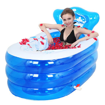 Portable bath adult bathtub plastic inflatable bath tub adults folding inflavel inflatable SPA 160cm*90cm*75cm Foot Air Pump