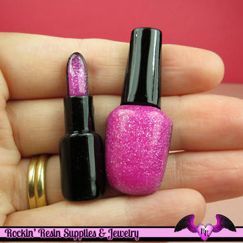 LIPSTICK and NAIL POLISH Make-up Flatback Resin Decoden Kawaii Cabochons in Glitter Pink(4 pieces)