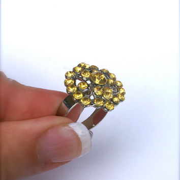 10 dollar SALE!!...Yellow Rhinestone Costume Ring Vintage Silver Tone Adjustable