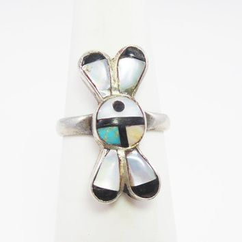 Zuni Sunfire Sterling Silver Ring ize 4.5 Inlaid MOP Turquoise & Onyx Native American Indian Jewelry Vintage 1960s, 1970s Soutthwestern BOHO